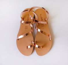 Rose Gold Sandals Genuine Greek Style Leather Sandals in by Sandelles Cute Sandals, Cute Shoes, Me Too Shoes, Shoes Sandals, Beach Sandals, Gold Shoes, Rose Gold Sandals, Metallic Sandals, Latest Shoe Trends