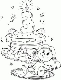 Birthday Cake Age 3 Coloring Page Birthday Coloring Pages, Coloring Book Pages, Printable Coloring Pages, Colouring Pics, Coloring Pages For Kids, Birthday Scrapbook, Outline Drawings, Birthday Numbers, Copics