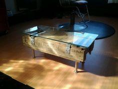 Repurposed ammo box cocktail table
