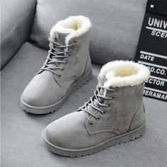Women Winter Snow Boots Brand Name: BRKWLYZ Upper Material: Flock Boot Height: ANKLE is_handmade: No Fashion Element: Platform Pattern Type: Solid Heel Type: Flat with Boot Type: Snow Boots Lining Material: Short Plush Shaft Material: Flock Toe Shape: Round Toe Season: Winter Insole Material: Short Plush Outsole Material: RUBBER Heel Height: Flat (≤1cm) With Platforms: Yes Platform Height: 0-3cm Closure Type: Lace-Up Fit: Fits smaller th #UggsBoots