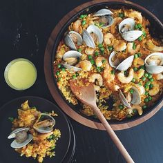 Seafood Paella for four! Recipe from @ williamssonoma #myopenkitchen | Instagram @ jennyeesf
