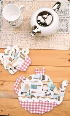 Kitchen Theme Tea Pot Trivet And Tea Cup Coasters Set