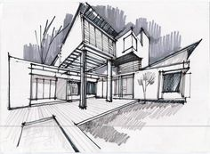 Architecture Concept Sketch  #conceptualarchitecturalmodels Pinned by www.modlar.com