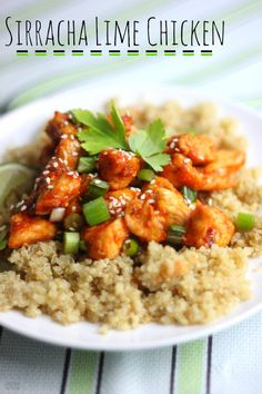 sirracha lime chicken with green onion and cilantro on top of bed of organic quinoa - gluten-free recipes, gluten free recipe