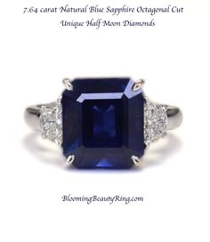 Natural Unheated 7.64 Carat Blue Sapphire Octagonal cut with unique half Moon accent diamonds  Gorgeous!  #BlueSapphire #UniqueRing