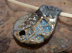 Stoneware pottery clay rustic pendent  primitive earthy