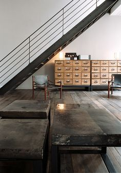 Industrial stairs in Paris, in a loft re-designed by French Interior Design Valérie Mazérat as seen on BODIE and FOU French Industrial Decor, Industrial Style Lighting, Industrial Stairs, Industrial Bedroom, Industrial Living, Industrial Interiors, Industrial Lamps, Luxury Lighting, Industrial Office