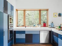 Colorful custom cabinets.