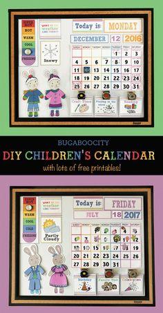 DIY Children's Calendar with free printables