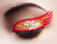 """The Flash Superhero Comic Book Character-Inspired Eye Shadow Makeup Design by 'GlitterFace' on BeautyLish.Com --- The first thing I thought of when I saw this was how he is Dr. Sheldon Cooper's favorite on """"The Big Bang Theory""""! 'Moonpie' is my most beloved fictional husband, for sure."""