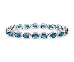 London Blue Topaz and White Topaz Halo Bracelet in Sterling Silver #BlueNile