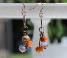 Sunrise  Blue and Orange Czech Bead Earrings by ThatGirlsDesigns, $8.00