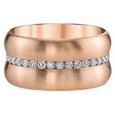 Channel Set Diamond Gold Band | From a unique collection of vintage band rings at https://www.1stdibs.com/jewelry/rings/band-rings/