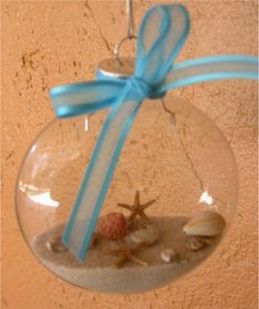 Put sand from your wedding day in a clear ornament :)