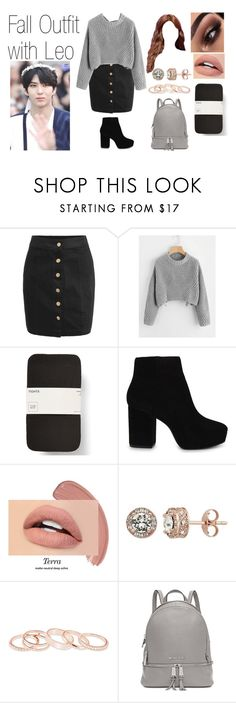 """""""Fall Outfit with Leo"""" by spicy-noodle ❤ liked on Polyvore featuring ALDO, GET LOST, Diamond Splendor, Kendra Scott, Michael Kors, kpop, leo and vixx"""