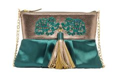 HCB 83 A YUKI - GREEN SATIN AND FAUX LEATHER ELEPHANT MOTIF BEADED CLUTCH WITH TASSEL
