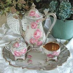 A Pretty painted Tea Set for a Shabby Chic Tea Party :)  {http://www.debicoules.com}
