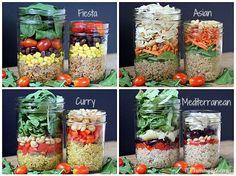 15 Summer Salad Recipes including these yummy Quinoa Jar Salads Raw Food Recipes, Great Recipes, Healthy Recipes, Jar Recipes, Vegan Food, Vegan Vegetarian, Vegetarian Recipes, Mason Jar Meals, Meals In A Jar