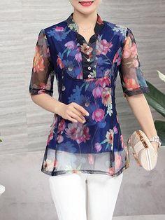 #Valentines #AdoreWe #PopJulia - #PopJulia Half Sleeve Mesh Floral Printed Stand Collar Plus Size T-Shirt - AdoreWe.com