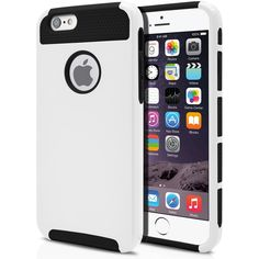 iPhone 6 Case Cute Protective Hard Shockproof [Drop Protection] Fashion Cover for Apple iPhone 6 (4.7') Impact Resistant Hybrid Slim Armor Case [ White / Black ] with Clear Screen Protector   MagicMobile