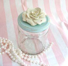 So Shabby Pink Rose Studded Jars