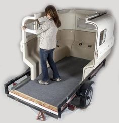 cool camper that you assemble.The Teal can be bolted or strapped to a plywood floor on the trailer Cool Campers, Rv Campers, Camper Trailers, Custom Trailers, Tiny Trailers, Small Trailer, Trailer Build, Mini Camper, Camping Car