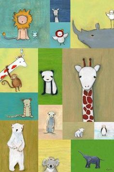 """""""Zoo Animal Patchwork"""" artwork for the nursery by Creative Thursday by Marisa for Oopsy daisy, Fine Art for Kids Art Videos For Kids, Art For Kids, Animal Paintings, Animal Drawings, Canvas Art Prints, Canvas Wall Art, Zoo Art, Animal Art Projects, Dibujos Cute"""