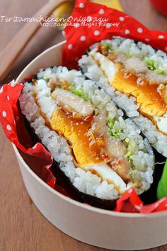 おにぎらず(cabbage, teriyaki chicken, sunny side up)