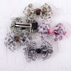 The multicolor ribbon bow leopard hairpin 10 pack [SKU72028] - $11.12 - Thdress.com