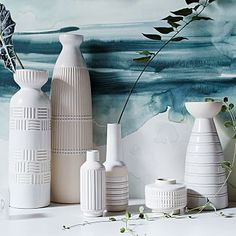 Group on dresser or on shelves in living room - the light color is nice  Art Pottery Vases #westelm