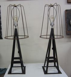 Industrial Jack Stand Lamp W/Tomato Cage Shade - B