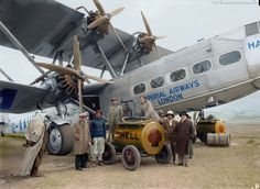 AMAZING COLORIZED FAMOUS HISTORICAL PIXS - HUGE 4 ENGINE BI-PLANE - IMPERIAL AIRWAYS OF LONDON REFUELING AT AIRPORT SHELL OIL