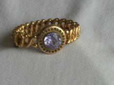 Vintage Signed Carmen Expansion Bracelet Rhinestones Purple Glass 5655 | eBay/29frank29