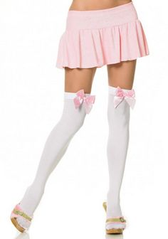 ccd5b580bee Amazon.com  Leg Avenue Women s Opaque Thigh-High Stockings with Satin Bows   Clothing