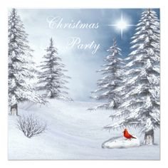 Winter Wonderland & Cardinal Christmas Party Card