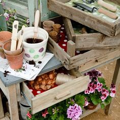 Spot oil cloth from The Worm That Turned     A potting bench is the perfect place for planting up bulbs and storing tools. Line drawers and crates with a polka dot oilcloth for a decorative touch.