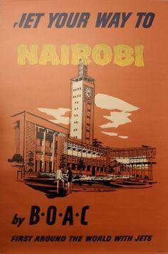 Nairobi Kenya by BOAC, 1959 - original vintage poster listed on AntikBar.co.uk