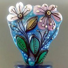 PIKALDA=handmade lampwork 1 focal glass bead flower pink blue bloom=GLOWING=SRA