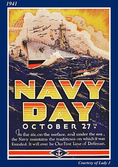 WWII Morale poster, 1941, Navy Day via maria mcudeque at Flickr