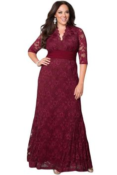 Burgundy Plus Size Lace Party Gown