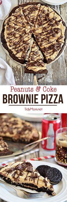 Deep fudgy brownies and peanut butter cookies serve as the crust for a peanut butter and candy topped brownie pizza.