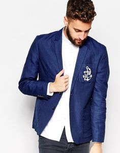 $43, Navy Blazer: Selected Embroidered Blazer. Sold by Asos. Click for more info: https://lookastic.com/men/shop_items/202453/redirect