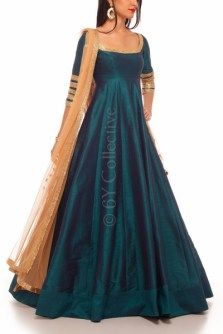 This Peacock Blue Anarkali with Beige with beige dupatta is priced at just Rs… Indian Designer Outfits, Indian Outfits, Designer Dresses, Indian Gowns Dresses, Pakistani Dresses, Ethnic Dress, Ethnic Kurti, Anarkali Dress, Anarkali Suits