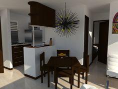 Render de un apartamento en Medellin-Colombia, elaborado en Sketchup 2014 y Renderizador Vray 2.0 para la constructora Pilarica