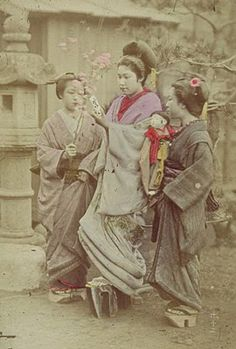 Oiran-courtesans, Japan.   Tayuu were offered the luxury of rejecting the advances of any suitors that they wished not to take, along with being appointed two young child attendants, Kamuro. These young Kamuro were often treated as younger sisters by the Tayuu, who would take pity on their plight, and would go to great pains to educate them in the customs and ways of the floating world.