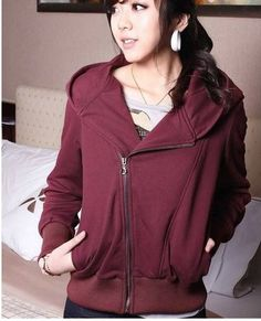 Fashion Long Sleeve Hooded Coat with Diagonal Zipper