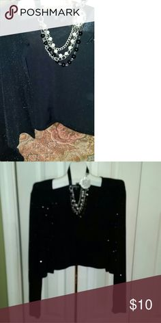 Shimmering Bolero! Slightly sheer long sleeve bolero. One tiny button at neck. Very classy, like new! Onyx Accessories Scarves & Wraps