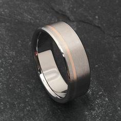 Titanium Band - Off Center 18k Solid Rose Gold Pinstripe #classictitanium #rosegoldring