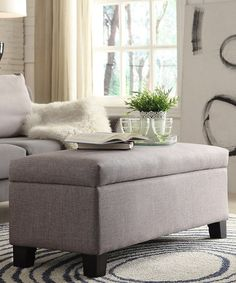 Gray Linen Ellen Storage Bench