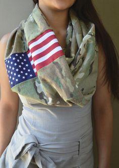 Multicam American Infinity Scarf, Scorpion American Flag Army